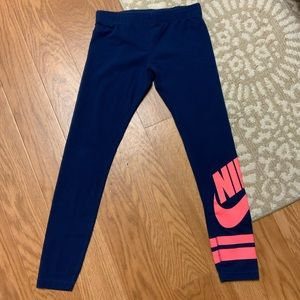 Nike girls youth blue and pink leggings with logo